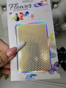 Наклейка для дизайна ногтей A018 сеточка золото