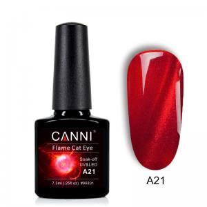 Гель-лак CANNI Огненный кошачий глаз №А21 (ярко красный с огненной полосой)