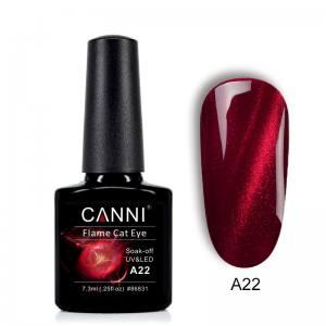 Гель-лак CANNI Огненный кошачий глаз №А22 (вишневый с ярко выраженной красной огненной полосой)