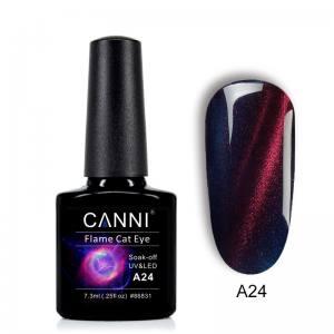Гель-лак CANNI Огненный кошачий глаз №А24 (королевский синий с ярко выраженной красной огненной полосой)