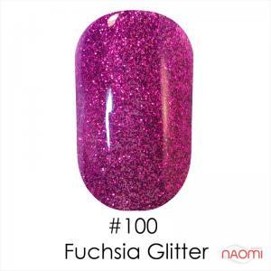 Гель-лак Naomi Gel Polish 100 - Fuchsia Glitter Topoz, 6 млфиолетово-сиреневый с искрящимися блестками