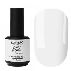 Жидкий гель для наращивания Komilfo Bottle Gel Milky White Intense с кисточкой, 15 мл