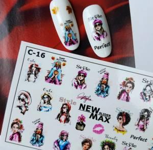 Слайдер-дизайн для ногтей New Max C-16