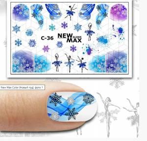 Слайдер-дизайн для ногтей New Max C-36
