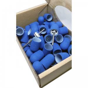 Одноразовые колпачки Мультибор  из твёрдого пластика Синие абр.150