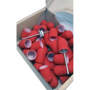 Одноразовые колпачки Мультибор  из твёрдого пластика Красные абр.60