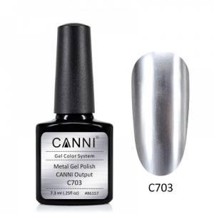 Гель-лак зеркальный CANNI №703 серебро