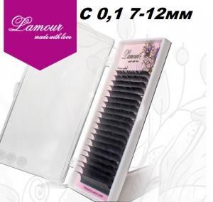 Реснички TM LAMOUR С 0.1 Растяжка 7-12 мм (20 линий)