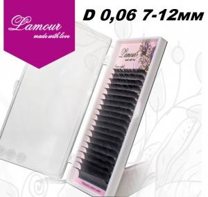 Реснички TM LAMOUR D 0.06 Растяжка 7-12 мм (20 линий)