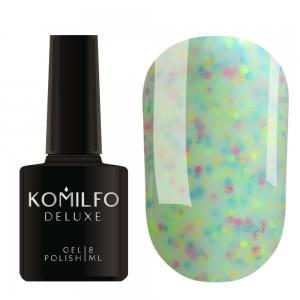 Гель-лак Komilfo Confetti Collection CN006 (светло-сине-зеленый с разноцветной крошкой), 8 мл