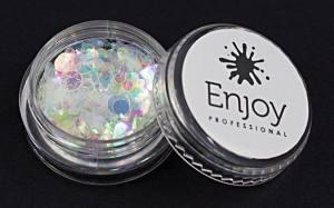 Декор для ногтей Enjoy Professional, фигурки в баночке, цвет белый с голограммой, 0,5 г