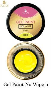 Гель-краска F.O.X Gel paint No Wipe без липкого слоя 5г №6 желтая