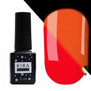 Гель-лак Kira Nails FLUO 007 (морковно-красный, флуоресцентный), 6 мл