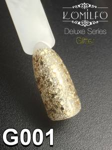 Гель-лак Komilfo DeLuxe Series №G001 (золотистый, крупные блестки), 8 мл