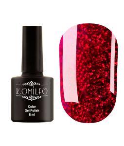 Гель-лак Komilfo DeLuxe Series №G014 (темно-красный с насыщенными мелкими блестками), 8 мл