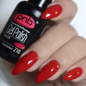 Гель-лак PNB Red Velvet 210, 8 ml темно-красный цвет с ягодным подтоном