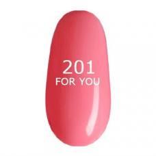 Гель лак для ногтей FOR YOU № 201 Розовый Мягкий, эмаль