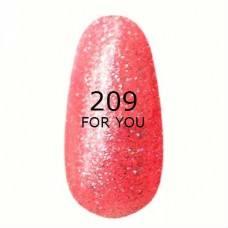 Гель лак для ногтей For you № 209 Модный Розовый, блестки
