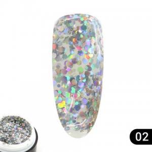 Гель жидкий камень Glitter gel Global 5г 02