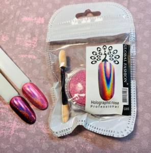 Втирка для ногтей Holographic rose Global Fashion G85
