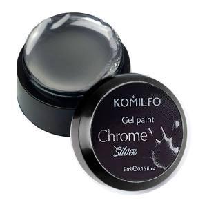 Хромовая гель-краска Komilfo Gel Paint Chrome Silver, 5 мл (без липкого слоя)