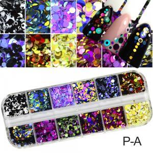 Набор конфетти для дизайна ногтей 12 цветов в боксе