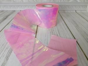 Фольга битое стекло 1м Светлая Розовая