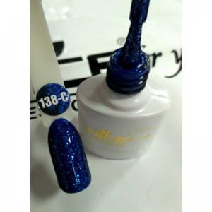 Гель-лак Nice серия cool C138 синий с блестками