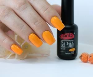 Гель-лак PNB Papaya 222, 8 ml оранжевый, эмаль
