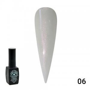 Каучуковая база для гель лака молочная с розовым шиммером Global Fashion  8 мл,  06
