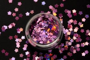 Камифубики (цветочки) для дизайна ногтей голографические сиреневые KF-09