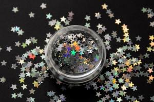 Камифубики (звезды) для дизайна ногтей серебро голографические KF-13