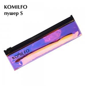 Komilfo пушер S для маникюра и педикюра c топориком, двухсторонний, в дихроическом чехле