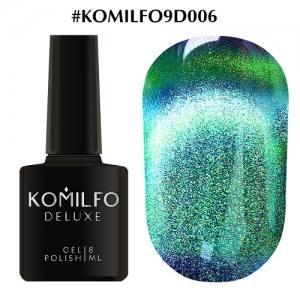Гель-лак Komilfo 9D Cat's eye №006 (бирюзово-зеленый, магнитный), 8 мл