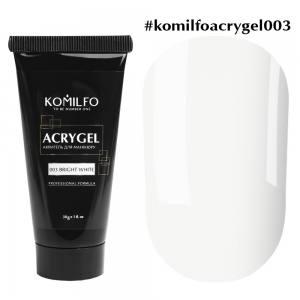 Акригель Komilfo AcryGel 003 Bright White, 30 г Ярко Белый