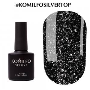 Komilfo No Wipe Silver Top  топ для гель-лака с шиммером без липкого слоя с УФ-фильтрами, 8 мл