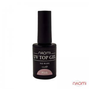 Закрепитель для геля - Naomi UV Top Gel No Wipe Pink, 12 мл