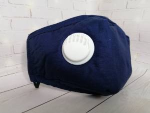 Маска-респиратор хлопковая с фильтром и клапаном синяя