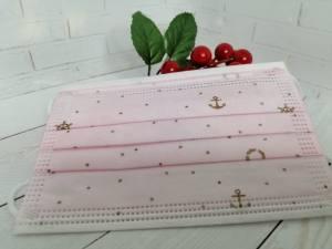 Маска детская одноразовая 3х слойная розовая Якоря