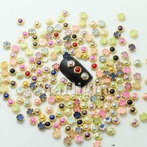 Камни круглые цветные в оправе для маникюра