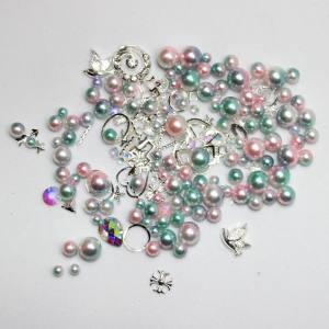 Набор декора Master жемчуг+металл.декор светлый розовый+зеленый