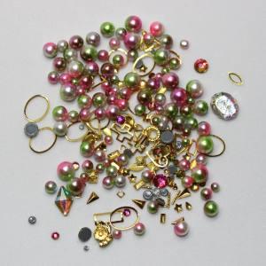 Набор декора Master жемчуг+металл.декор розовый+зеленый