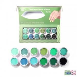 Набор гель-красок Global 5 ml Зелёный 12шт