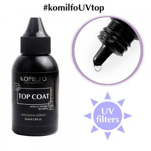 Komilfo No Wipe Top  топ для гель-лака без липкого слоя с УФ фильтрами, 50 мл (без кисточки)