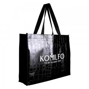 Сумка Komilfo 39*29*10 черная ламинированная, змея