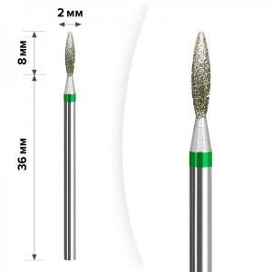 Алмазная насадка Mart Пламя Green 2*8мм М-037