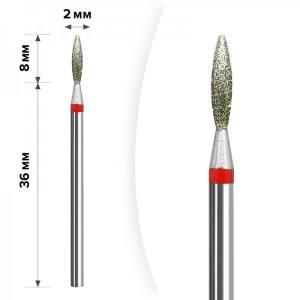 Алмазная насадка Mart Пламя Red 2*8мм М-25
