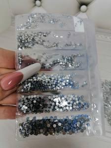 Стразы стекло микс размеров Blue Opal отдельная фасовка размеров 1440шт