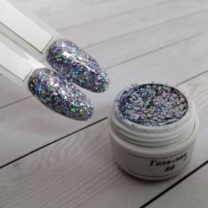 Гель-лак на розлив 5г №080 серебро с крупными блестками