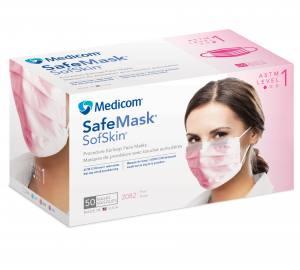 Маска защитная на резинках Светло-Розовая 1шт